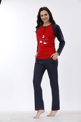 Etoile %100 Cotton Uzun Kol Pijama Takımı ( Detay: Cepli ) 98052 1