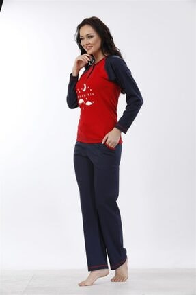 Etoile %100 Cotton Uzun Kol Pijama Takımı ( Detay: Cepli ) 98052 2