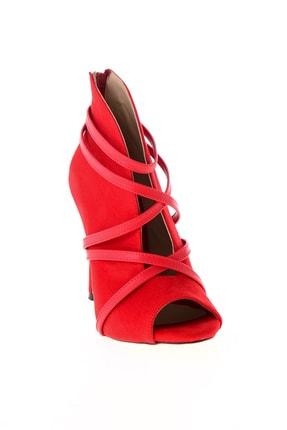 Bambi Kırmızı Süet Kadın Abiye Ayakkabı L0501901665 2