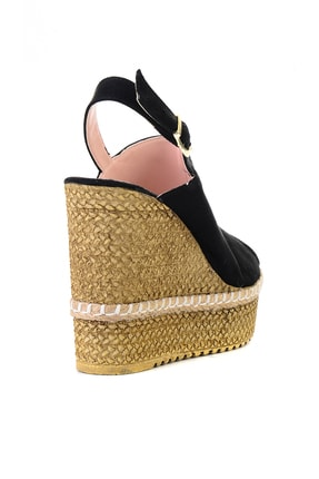 Bambi Siyah Süet Kadın Dolgu Topuklu Ayakkabı L0501803365 3