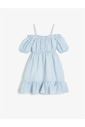 Koton Kız Çocuk Mavi Askılı Kısa Kollu Düğme Detaylı Çizgili Elbise 0