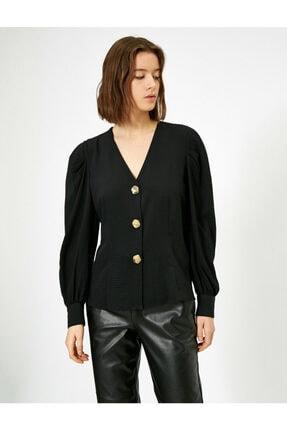 Koton V Yaka Dügme Detayli Bluz 0