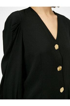 Koton V Yaka Dügme Detayli Bluz 4