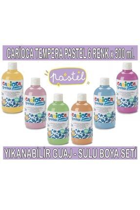Carioca Tempera Pastel Renkler Yıkanabilir Sulu Boya Seti 6 Renk X 500 ml. 0