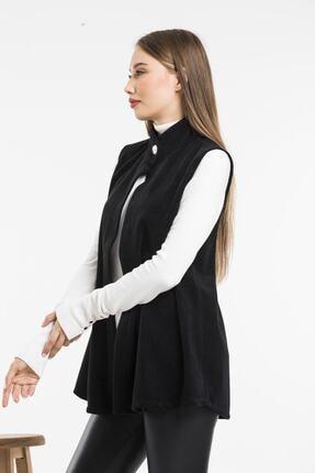 Balo Moda Kadın Siyah Softshell Yelek 4