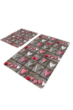 EVİMOD Love Kırmızı Beyaz Gri Kalpli 2li Yıkanabilir Klozet Takımı Banyo Halısı Paspas 1