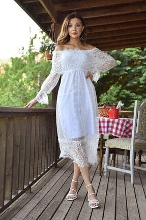 Modakapimda Beyaz Güpür Kayık Yaka Elbise 4
