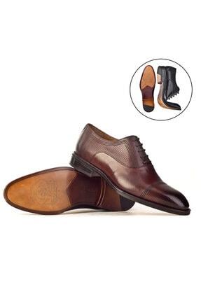 Cabani Oxford Kaymaz Esnek Kauçuk Tabanlı Bağcıklı Günlük Erkek Ayakkabı Kahve Antik Deri 2