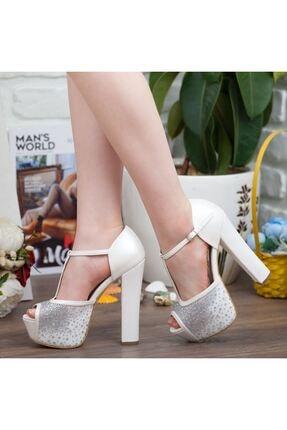 Adım Adım Sedef Platform Topuk Dolgu Taban Abiye Gelin Kadın Ayakkabı • A192ysml0024 1