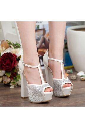 Adım Adım Sedef Platform Topuk Dolgu Taban Abiye Gelin Kadın Ayakkabı • A192ysml0024 3