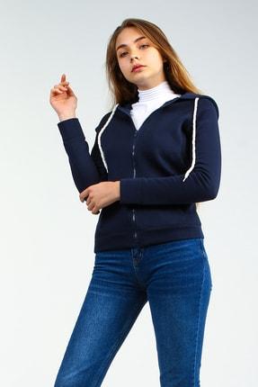 Collezione Lacivert Kapişonlu Fermuarlı Ön Cepli Uzun Kollu Kadın Sweatshirt 1