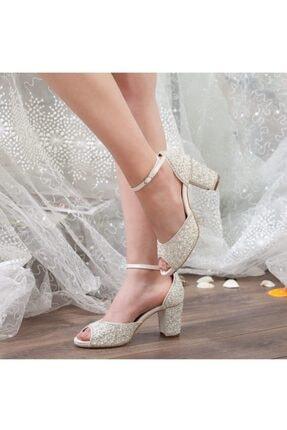 Adım Adım Sedef Platform Topuk Bilekten Bağlama Abiye Gelin Kadın Ayakkabı • A192ysml0013 0