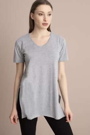 Tena Moda Kadın Gri V Yaka Yanı Yırtmaçlı Tunik 2