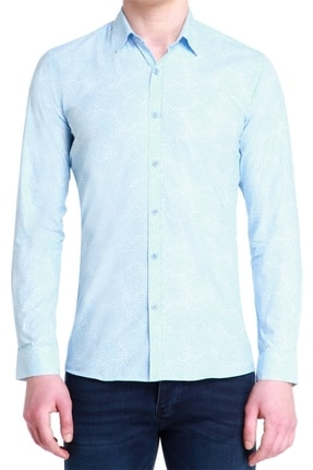 Efor G 1384 Slim Fit Mavi-beyaz Spor Gömlek 0