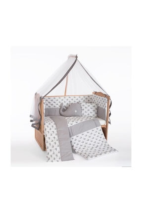 Heyner Ahşap Beşik Anne Yanı Beşik Sallanır Beşik Organik 60x120 + Gri Balina Uyku Seti + Yatak 1