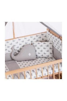 Heyner Ahşap Beşik Anne Yanı Beşik Sallanır Beşik Organik 60x120 + Gri Balina Uyku Seti + Yatak 2