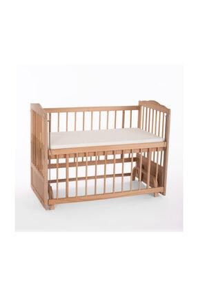 Heyner Ahşap Beşik Anne Yanı Beşik Sallanır Beşik Organik 60x120 + Gri Balina Uyku Seti + Yatak 3