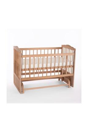 Heyner Ahşap Beşik Anne Yanı Beşik Sallanır Beşik Organik 60x120 + Gri Balina Uyku Seti + Yatak 4