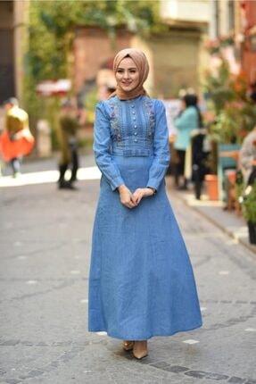 Modamihram Fiyonk Detaylı Nakışlı Tesettür Elbise Açık Kot 3