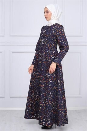 Modamihram Düğme Detaylı Tesettür Elbise Lacivert 2