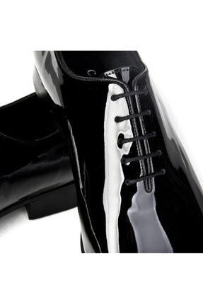 Cabani Bağcıklı Damatlık Klasik Erkek Ayakkabı Siyah Rugan 3