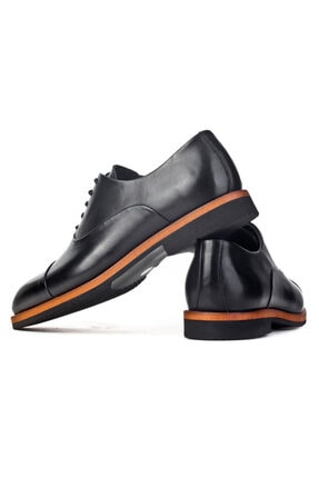 Cabani Oxford Hafif Light Tabanlı Bağcıklı Klasik Erkek Ayakkabı Siyah Antik Deri 3
