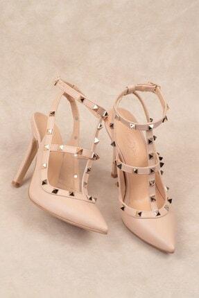 Nizar Deniz Malenti Ten Mat Zımbalı Kadın 11cm Ince Topuklu Ayakkabı 1