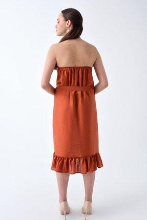 Cotton Mood 92210148 Bodrum Boyun Bağlamalı Beli Kemerli Kolsuz Elbise Kıremıt 2