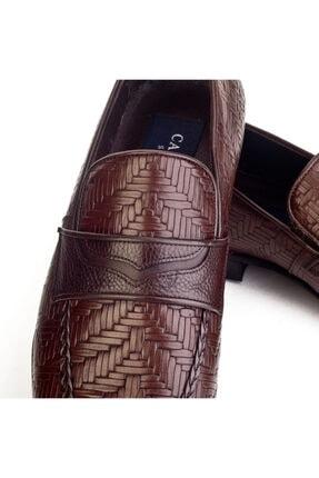 Cabani Örgülü Derili Neolit Enjeksiyon Tabanlı Loafer Erkek Ayakkabı Kahve Deri 2