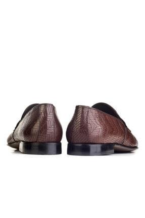 Cabani Örgülü Derili Neolit Enjeksiyon Tabanlı Loafer Erkek Ayakkabı Kahve Deri 3