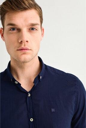 Avva Erkek Lacivert Düz Düğmeli Yaka Slim Fit Kısa Kol Vual Gömlek A01s2210 2