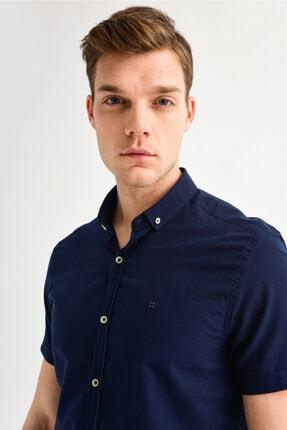 Avva Erkek Lacivert Düz Düğmeli Yaka Slim Fit Kısa Kol Vual Gömlek A01s2210 3