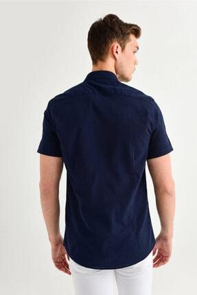 Avva Erkek Lacivert Düz Düğmeli Yaka Slim Fit Kısa Kol Vual Gömlek A01s2210 4
