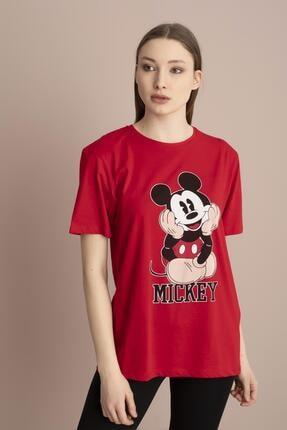 Tena Moda Kadın Kırmızı Mickey Mouse Baskılı Tişört 1