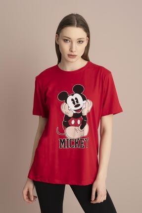 Tena Moda Kadın Kırmızı Mickey Mouse Baskılı Tişört 2