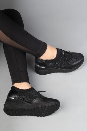 Modabuymus Siyah Taşlı Dolgu Topuklu Kadın Ayakkabı - Stonestar 1