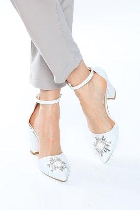 Nizar Deniz Maureen Beyaz Mat Sivri 8cm Kristal Taşlı Kalın Topuklu Kadın Gelin Ayakkabısı 1