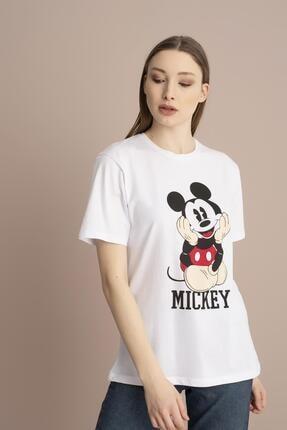 Tena Moda Kadın Beyaz Mickey Mouse Baskılı Tişört 2