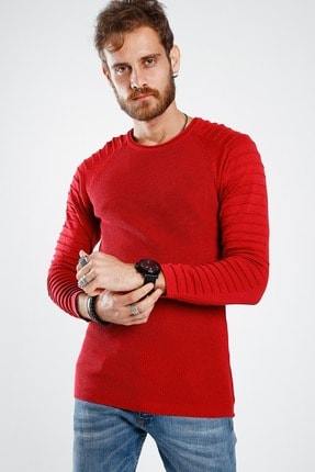 Lafaba Erkek Kırmızı Kolları Nervürlü Triko 0