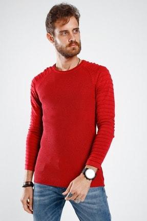 Lafaba Erkek Kırmızı Kolları Nervürlü Triko 1
