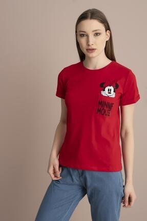 Tena Moda Kadın Kırmızı Minnie Mouse Yazılı Tişört 2