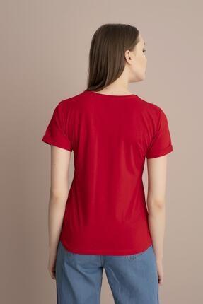 Tena Moda Kadın Kırmızı Minnie Mouse Yazılı Tişört 4