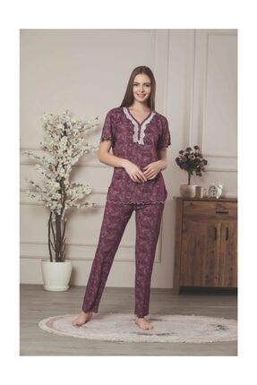 Lila Viskon Pijama Takımı 0