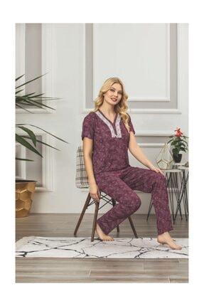Lila Viskon Pijama Takımı 2