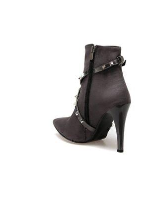 Butigo BARCELONA Gri Kadın Topuklu Bot 100523286 2