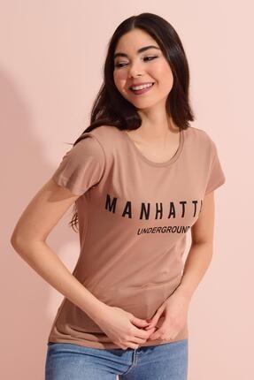 Tena Moda Kadın Bisküvi Bisiklet Yaka Manhattan Baskılı Tişört 3