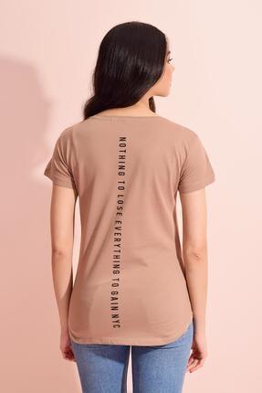 Tena Moda Kadın Bisküvi Bisiklet Yaka Manhattan Baskılı Tişört 4