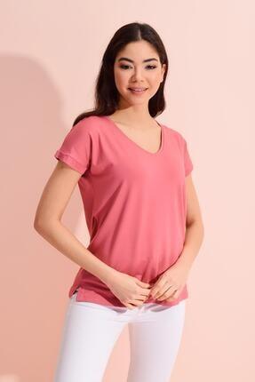 Tena Moda Kadın Gül V Yaka Geniş Salaş Tişört 1