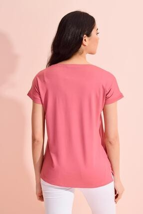 Tena Moda Kadın Gül V Yaka Geniş Salaş Tişört 4