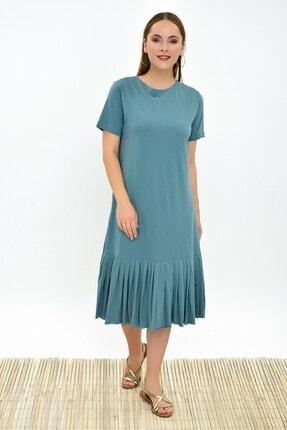 Cotton Mood 9303044 Süprem Eteği Pliseli Kısa Kol Elbise Cagla Yesıl 1